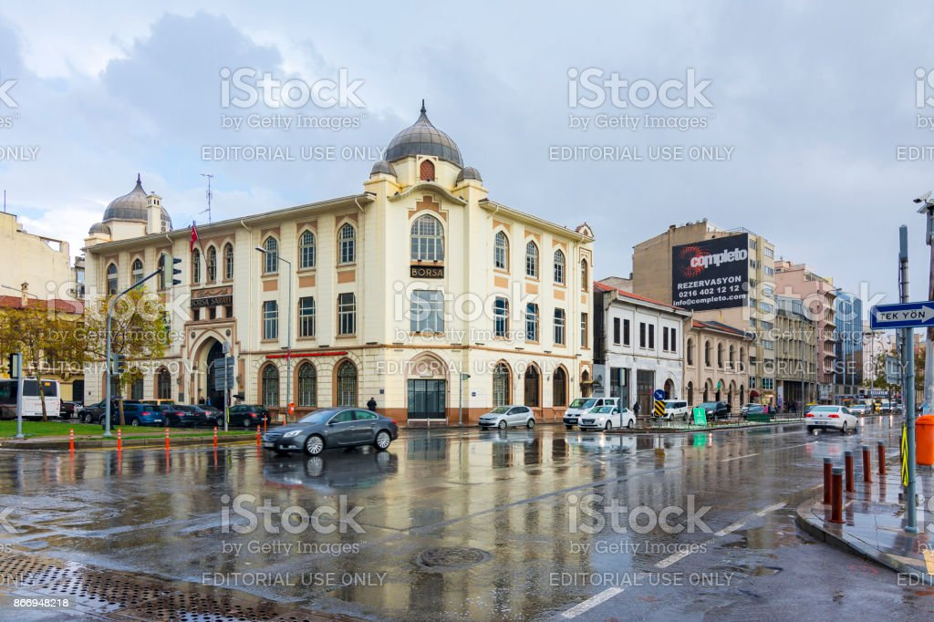 Borsa building view at rainy day in Izmir stock photo