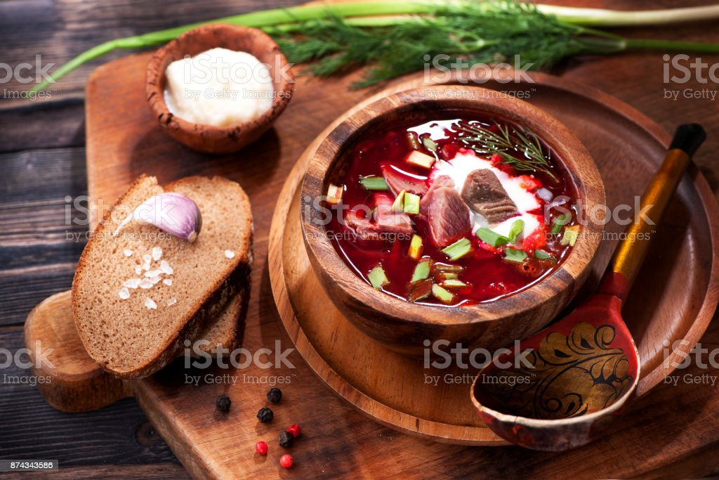 Borsch beet soup stock photo