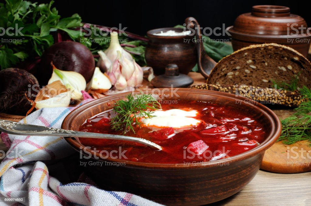 Borsch - soup with beet stock photo