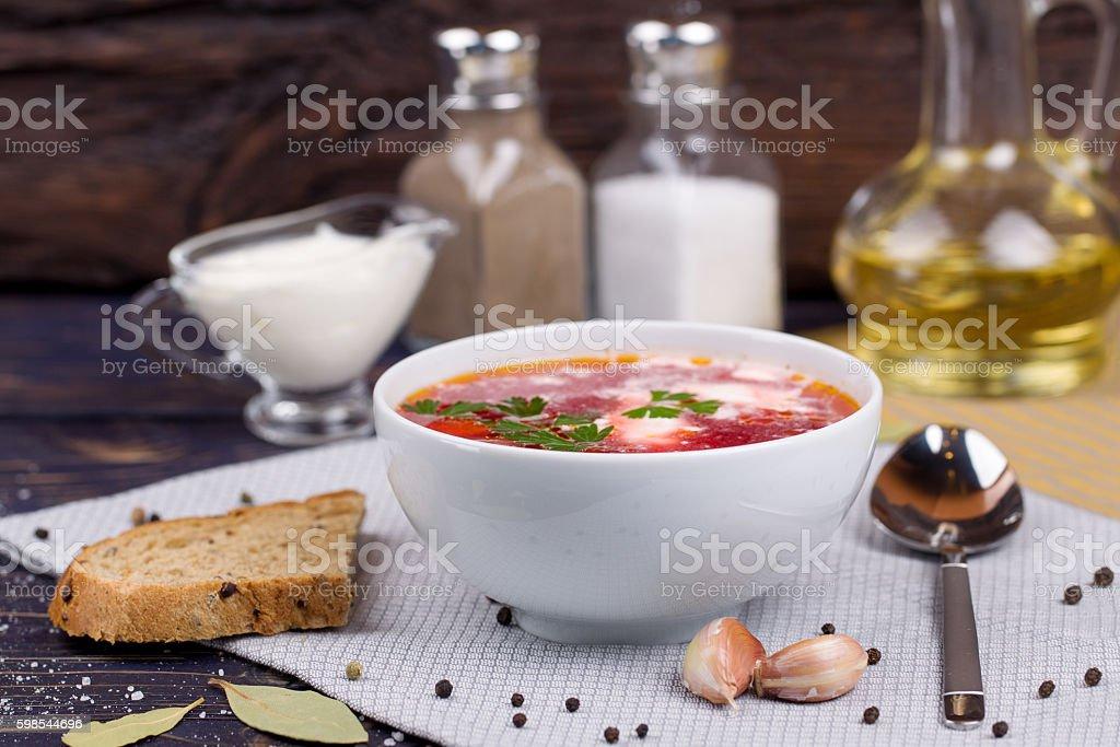 Borsch. Traditional Russian and Ukrainian vegetable soup photo libre de droits