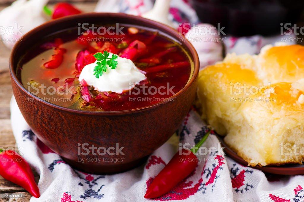 borsch, traditional Ukrainian beet and sour cream soup stock photo