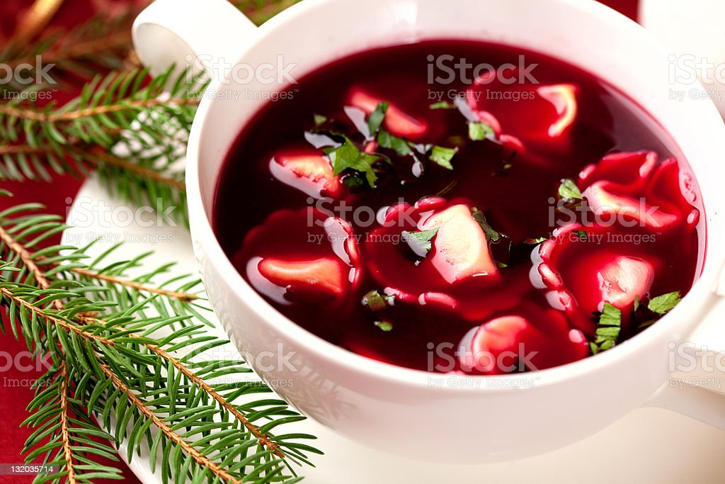 Barszcz z uszkami. Polish christmas soup stock photo