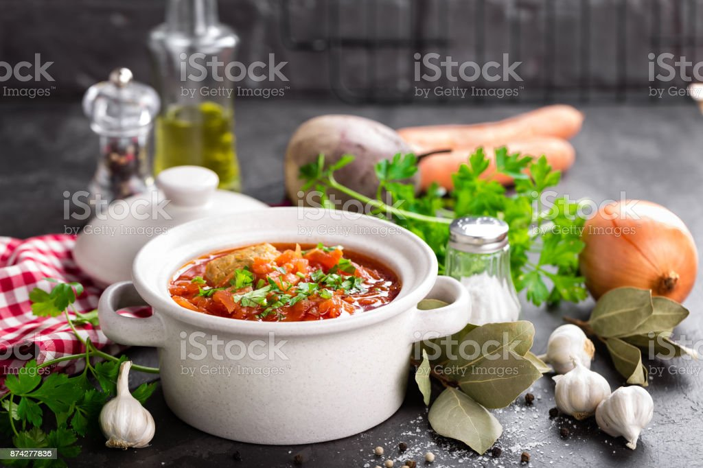 Borscht, traditional ukrainian beetroot vegetable soup stock photo