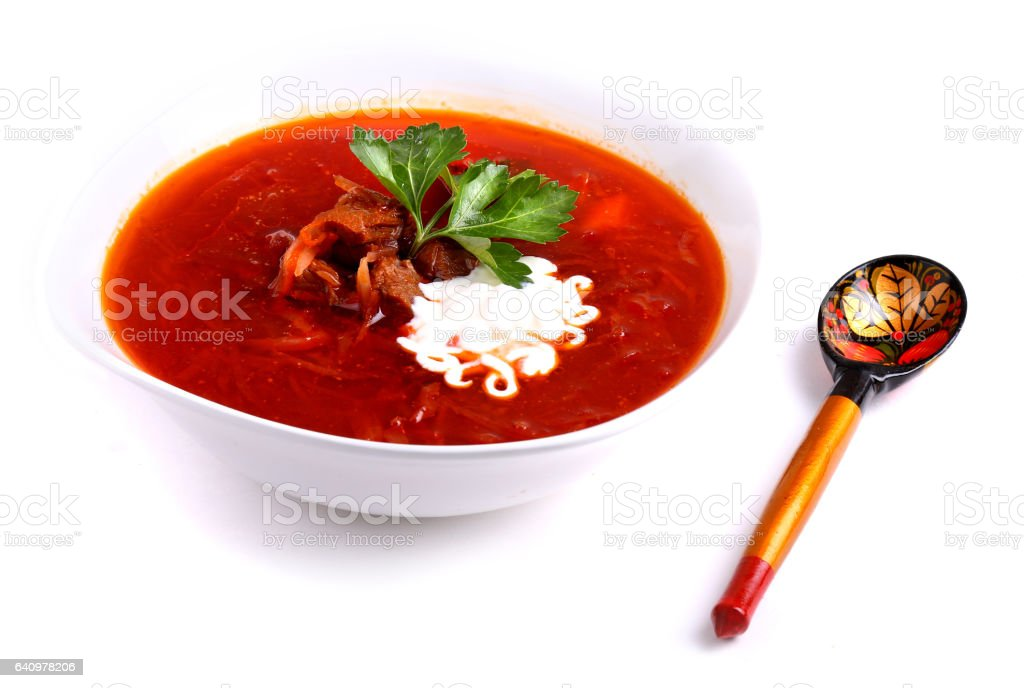 Borscht with smetana stock photo