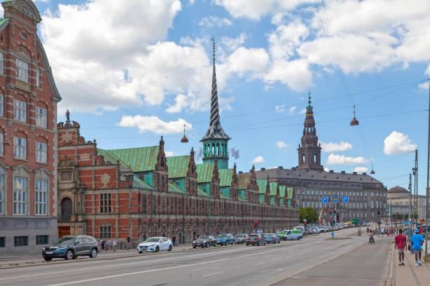 Borsen building & Christiansborg Palace in Copenhagen stock photo
