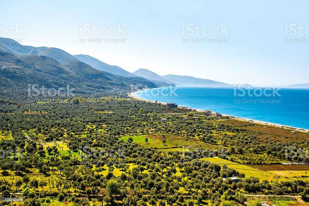 Borsh beach in Albania stock photo