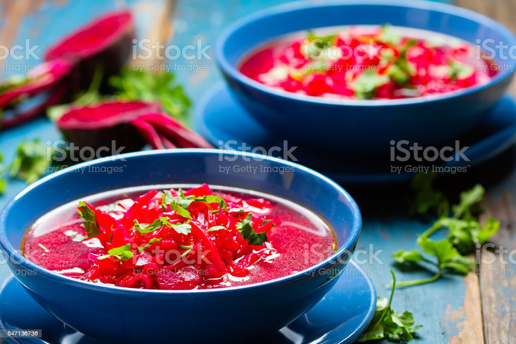 Borsh. Russian and Ucrainian traditional vegetarian red soup stock photo