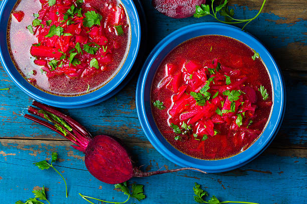 Borsh. Russian and Ucrainian traditional vegetarian red soup. Top view 스톡 사진