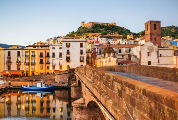 bosa town, sardinia island, italy - sardegna foto e immagini stock