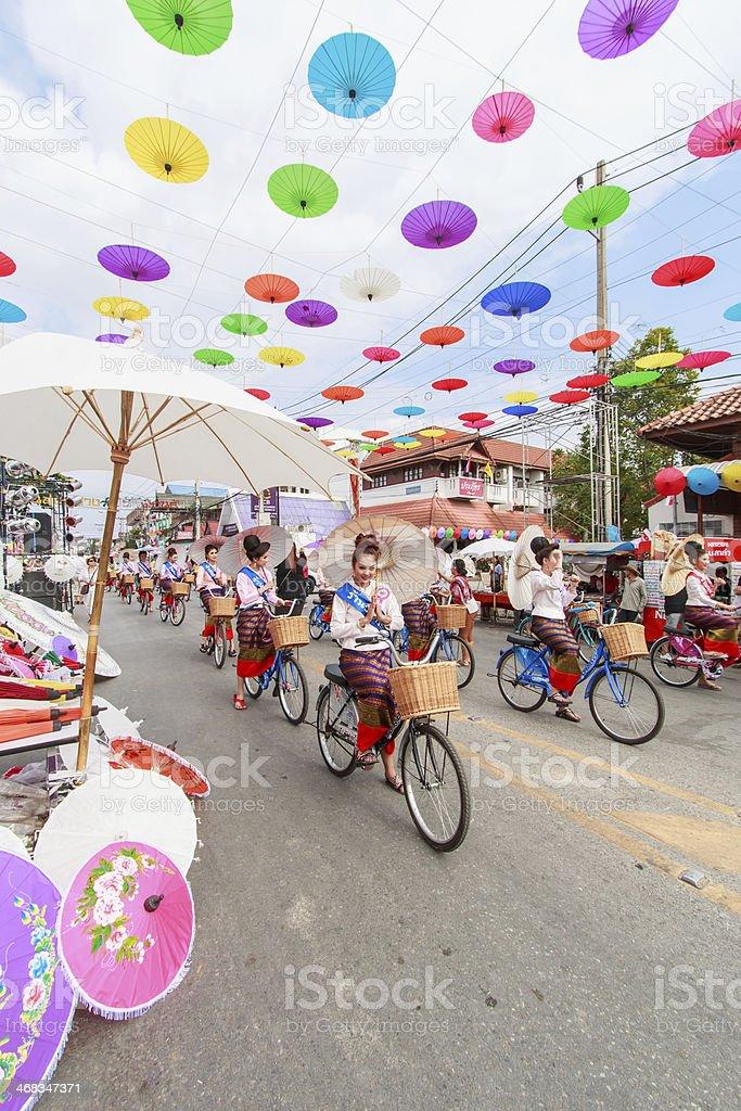Bosang umbrella festival stock photo