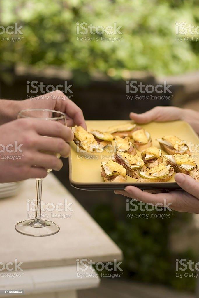 Bosc Pear, Brie and Prosciutto Bruschetta stock photo