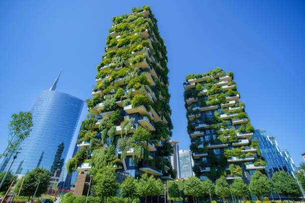 Bosco Verticale (Vertical Forest) in Milan city, Italy stock photo