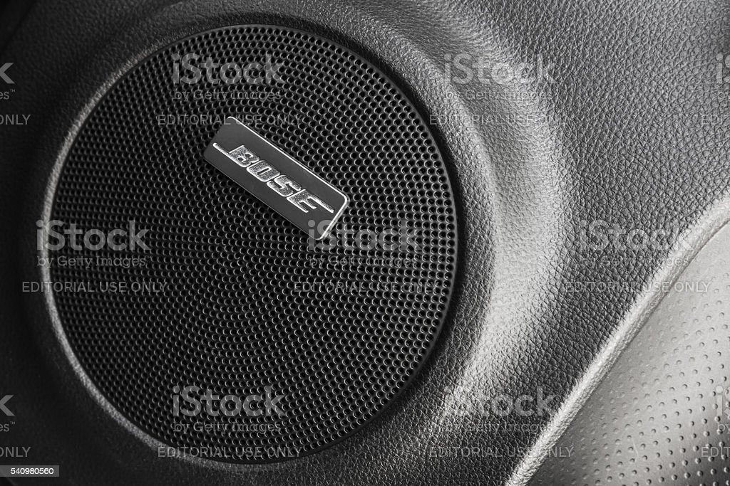 Bose car audio component, round side speaker stock photo