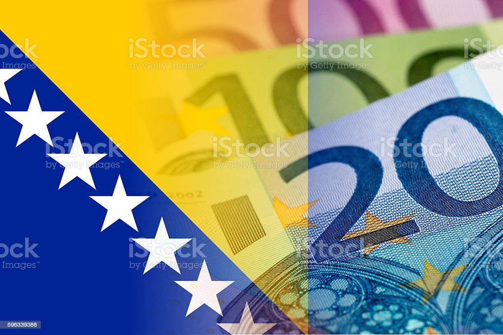 bosnia and herzegovina flag with euro banknotes royalty-free stock photo