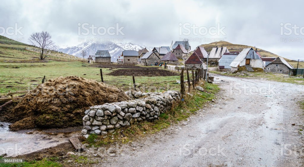 Bosnian village in the mountains stock photo