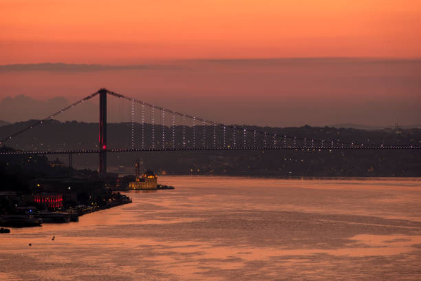 Bosphorus at sunrise in Istanbul, Turkey stock photo