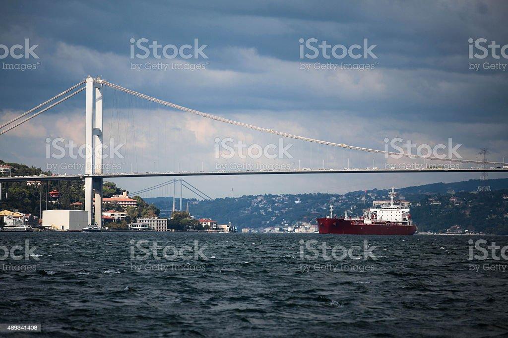Bosphorus Bridge and ship. stock photo