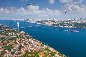 Aerial view of Bosphorus bridge in İstanbul.