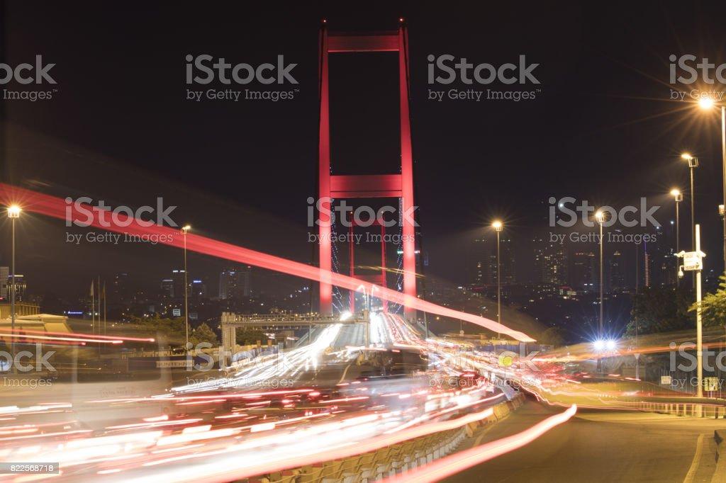 Boğaziçi Köprüsü (yeni adı: 15 Temmuz şehit), Istanbul, Türkiye stok fotoğrafı