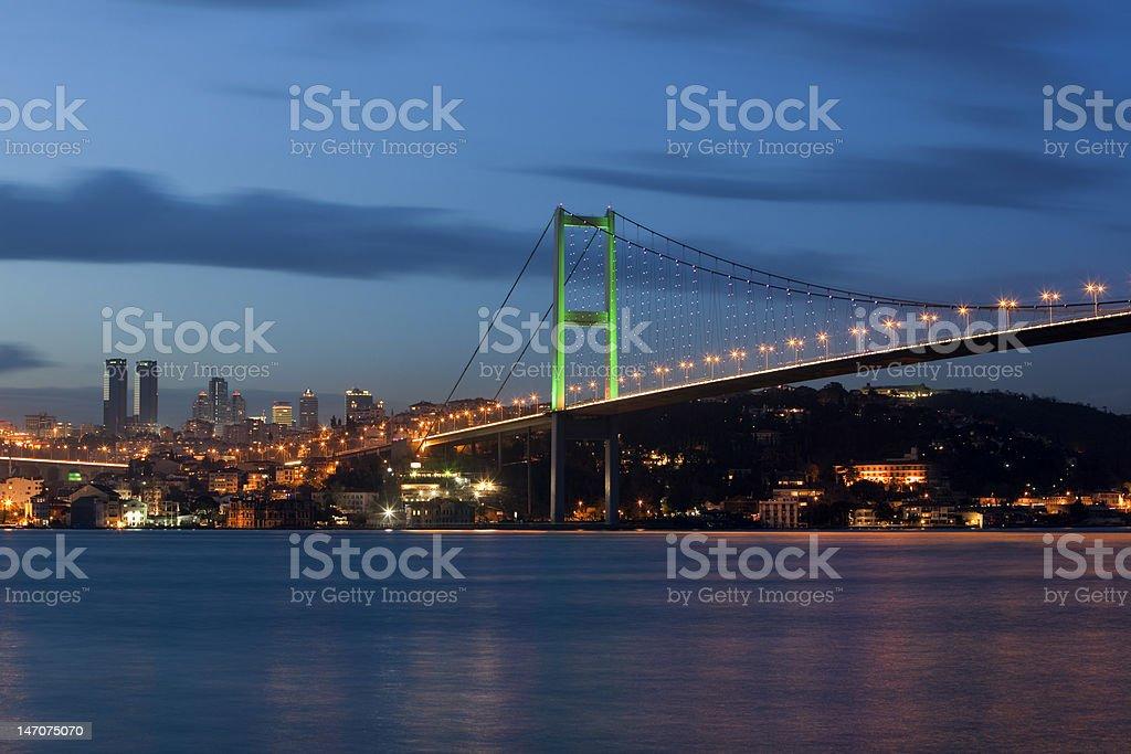 Bosphorus Bridge with Skyscrapers royalty-free stock photo