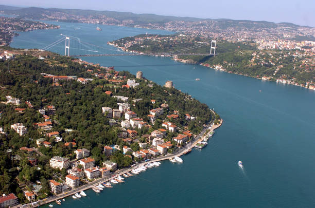 Bosphorus from air Aerial view of Bosphorus straits in Istanbul, Turkey bosphorus stock pictures, royalty-free photos & images