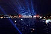 The Bosphorus Bridge in Istanbul at night.