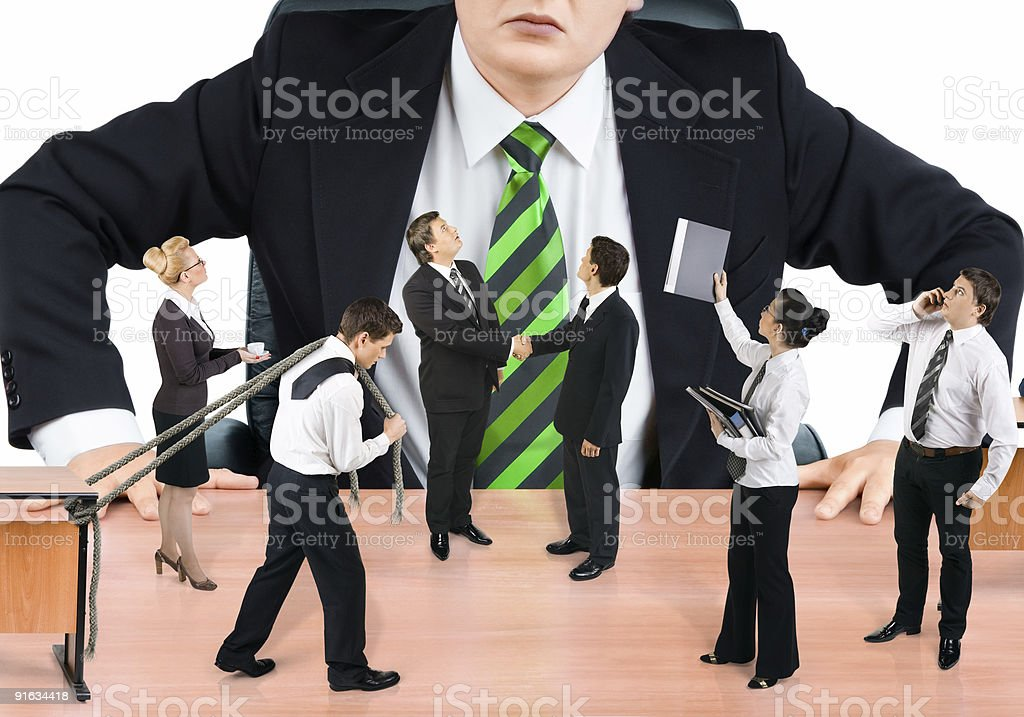Boss and business team on white background royalty-free stock photo