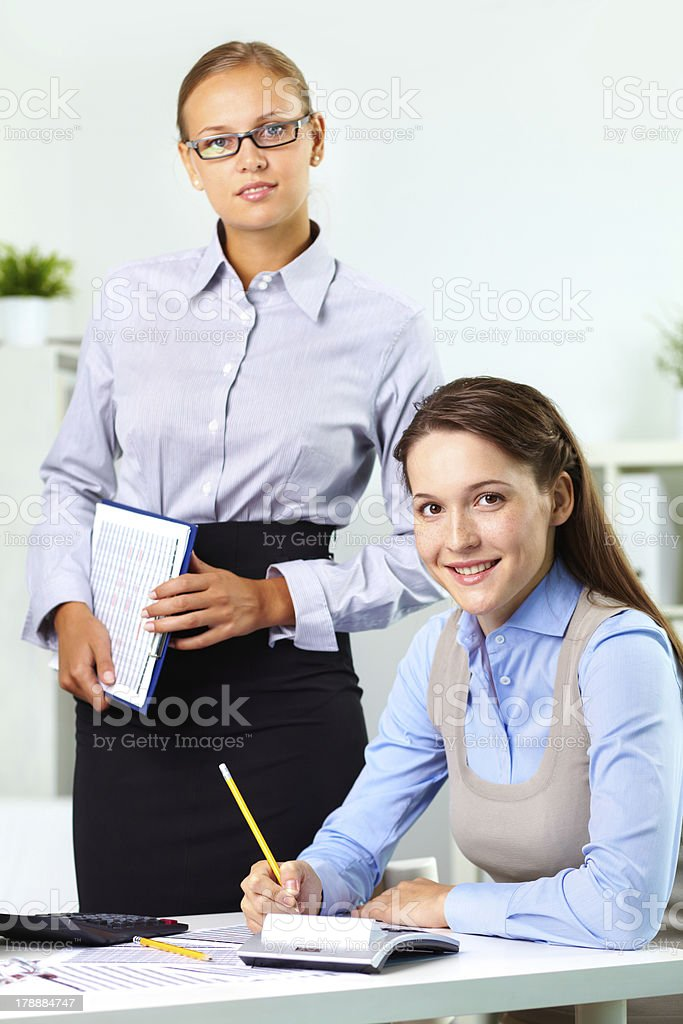 Boss and employee royalty-free stock photo