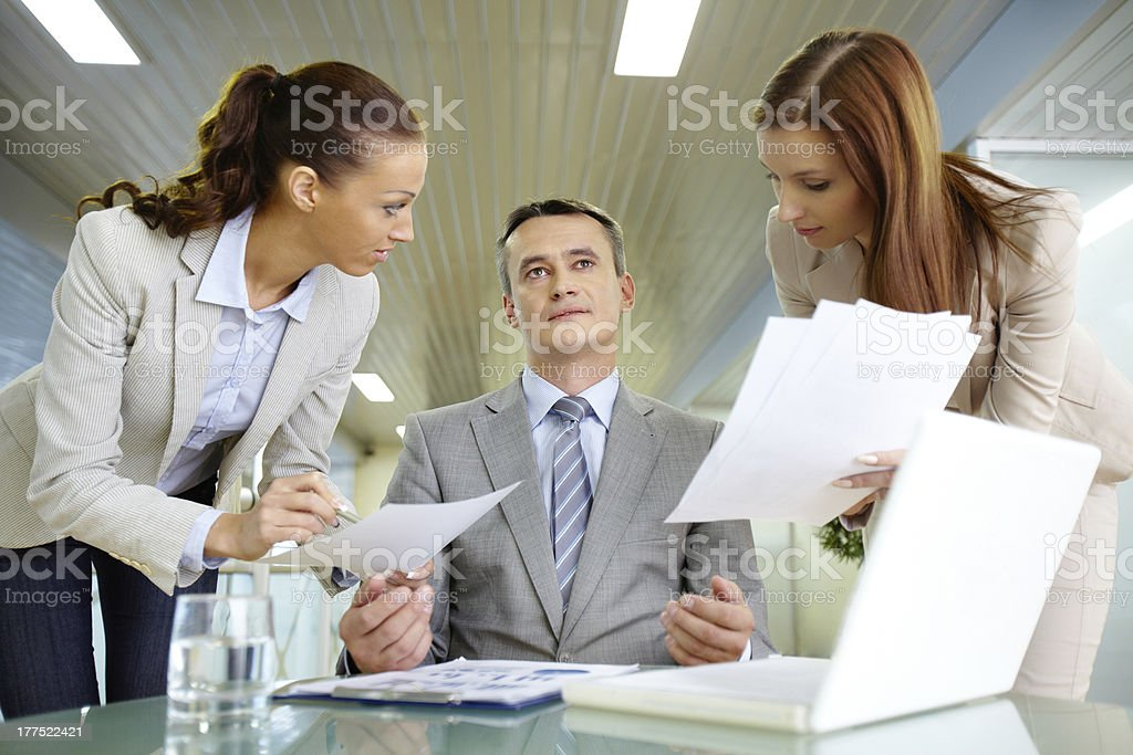 Boss and secretaries royalty-free stock photo
