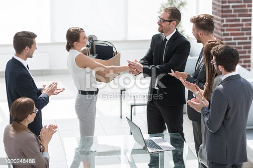 639540494 istock photo boss and the new employee shaking hands with each other 1020248486