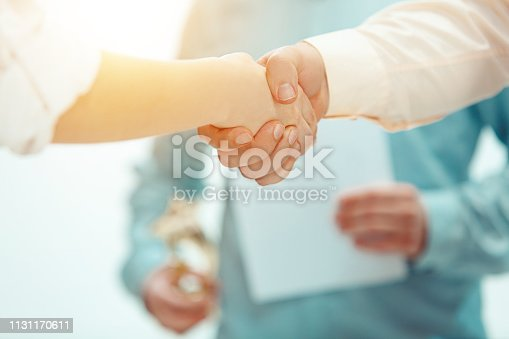 815703312 istock photo Boss approving and congratulating young successful employee 1131170611