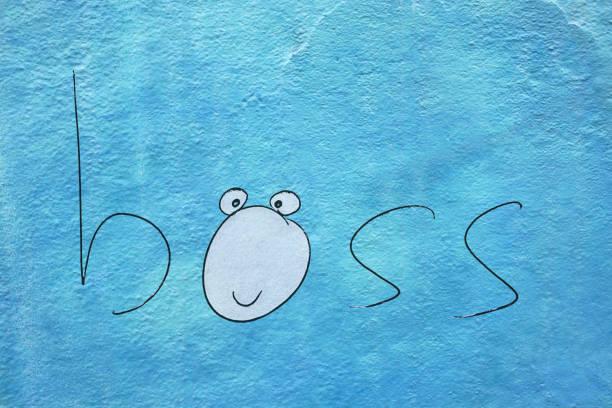 un concepto boss renderizado illustation en la pared - 3d - boss's day fotografías e imágenes de stock