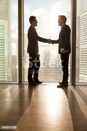 istock Boss congratulating employee with career promotion 845314206