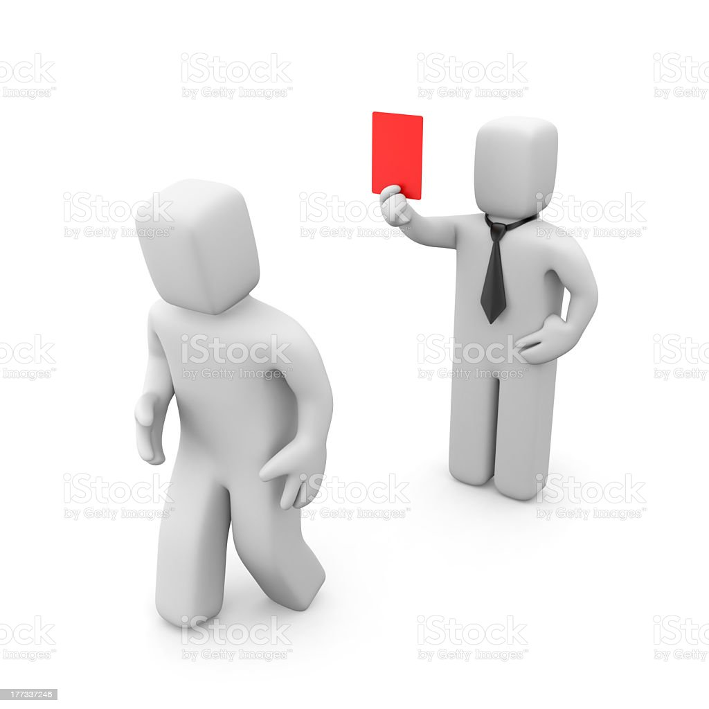 Boss firing an employee by giving him the red card royalty-free stock photo