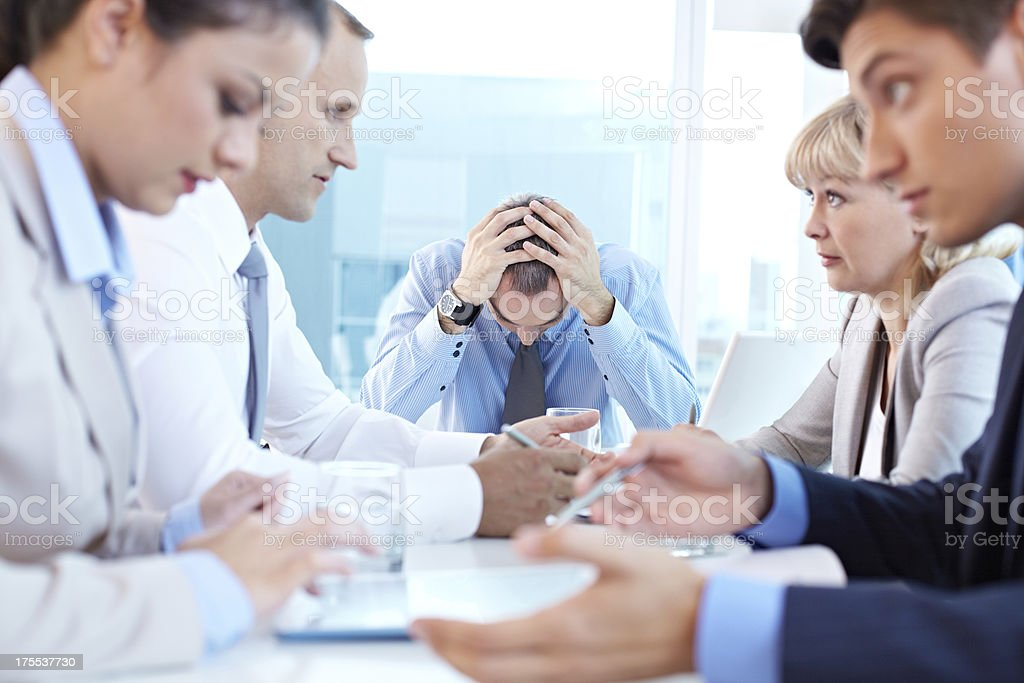 Boss in despair stock photo