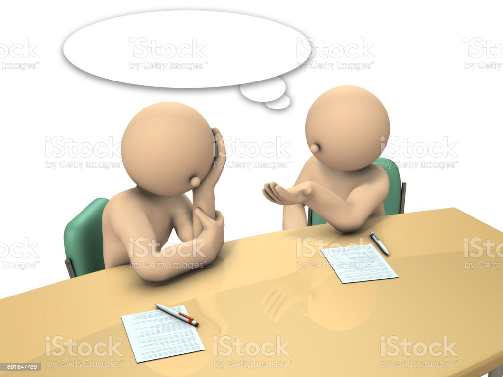 Boss is advising his subordinates how to write a report. stock photo