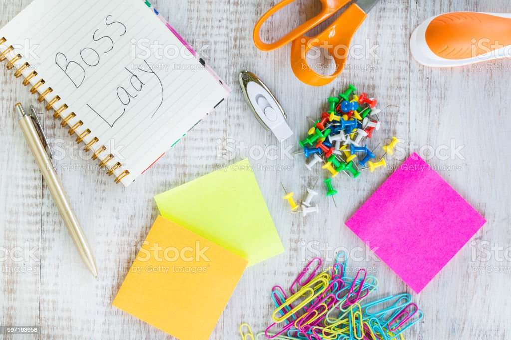 Boss Lady Work Office Desk With Supplies stock photo