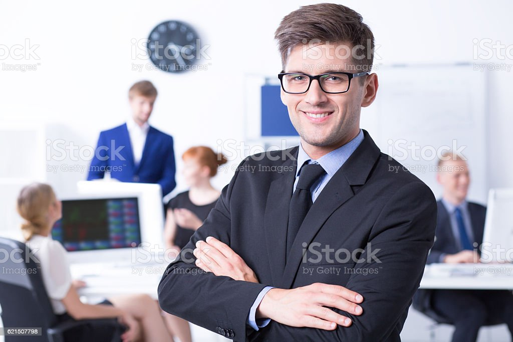 Boss with his employees at office foto stock royalty-free