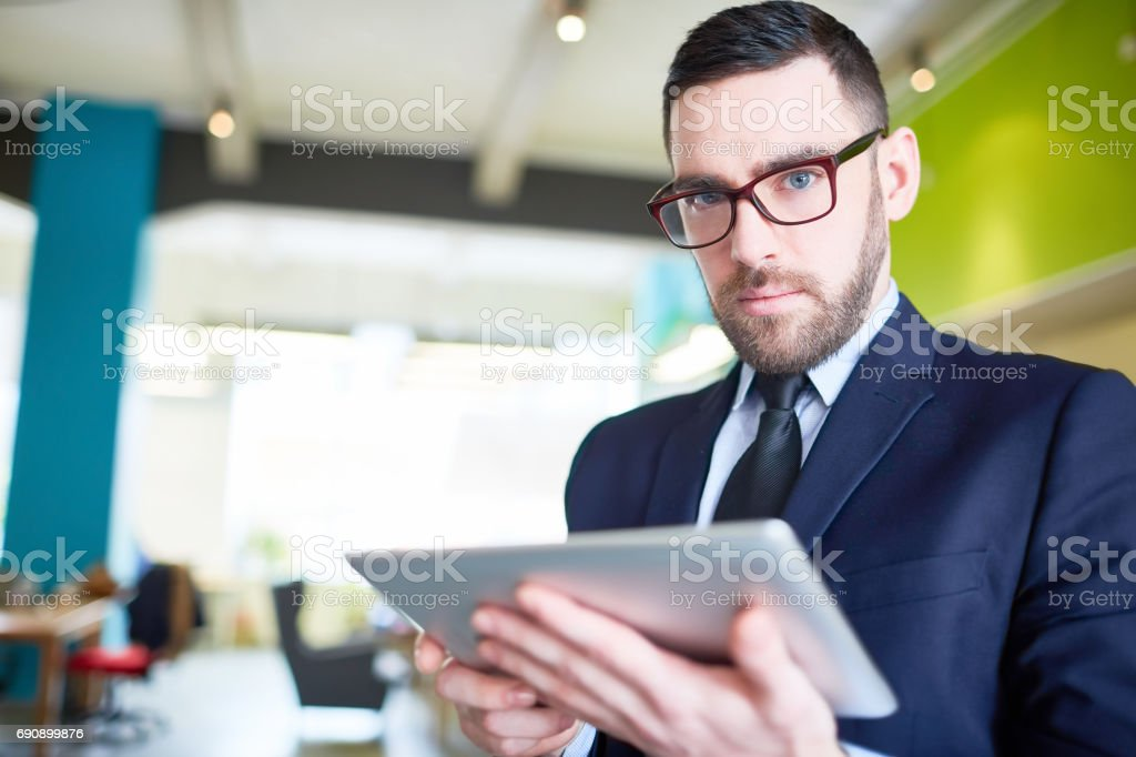 Boss with touchpad stock photo