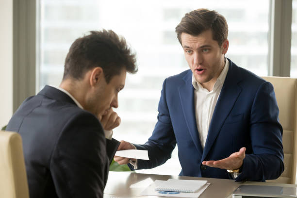 Boss yelling at employee for missing deadline, bad work results Angry mean boss yelling at employee for missing deadline, executive manager scolding ineffective salesman showing bad work results, firing worker for failure, team leader dissatisfied with report scolding stock pictures, royalty-free photos & images