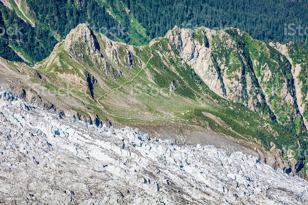Bossons Glacier from the summit of the Aiguille du Midi royalty-free stock photo