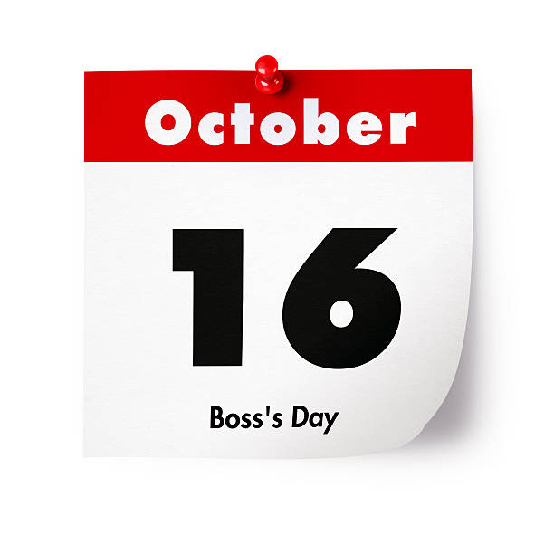 Boss's Day in 2015 Pinned page of the October 16. boss's day stock pictures, royalty-free photos & images