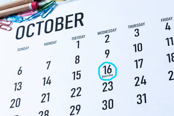 Boss's day or boss appreciation day Boss's day or boss appreciation day - October 16 highlighted on the calendar boss's day stock pictures, royalty-free photos & images
