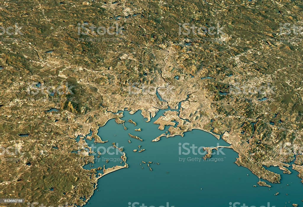 Boston 3D View East-West Natural Color stock photo