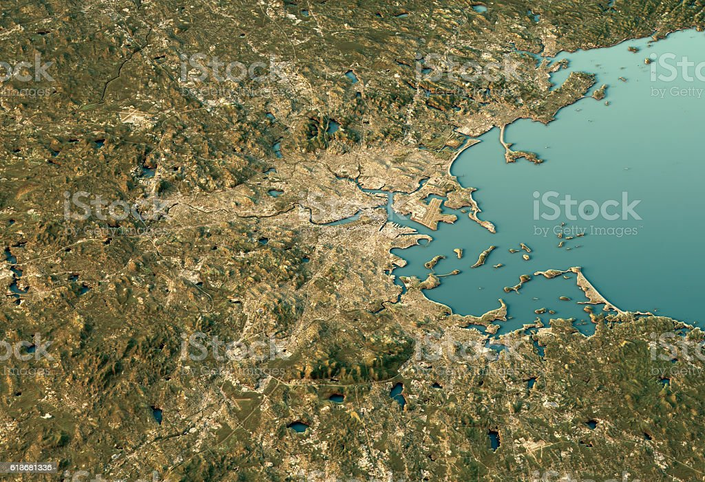 Boston 3D View South-North Natural Color stock photo