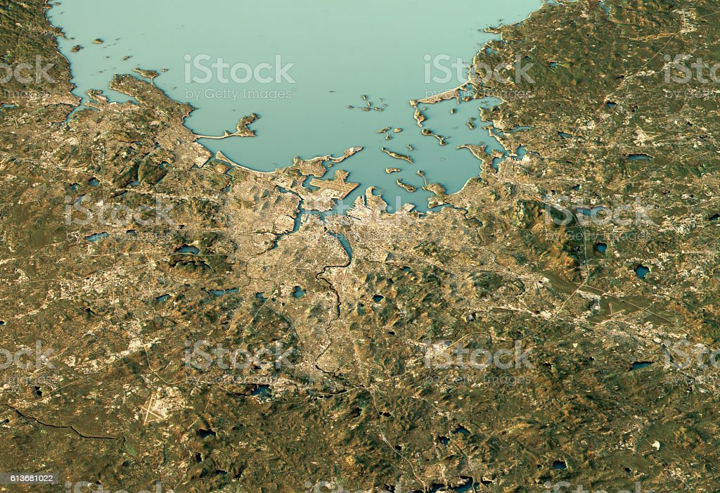 Boston 3D View West-East Natural Color stock photo