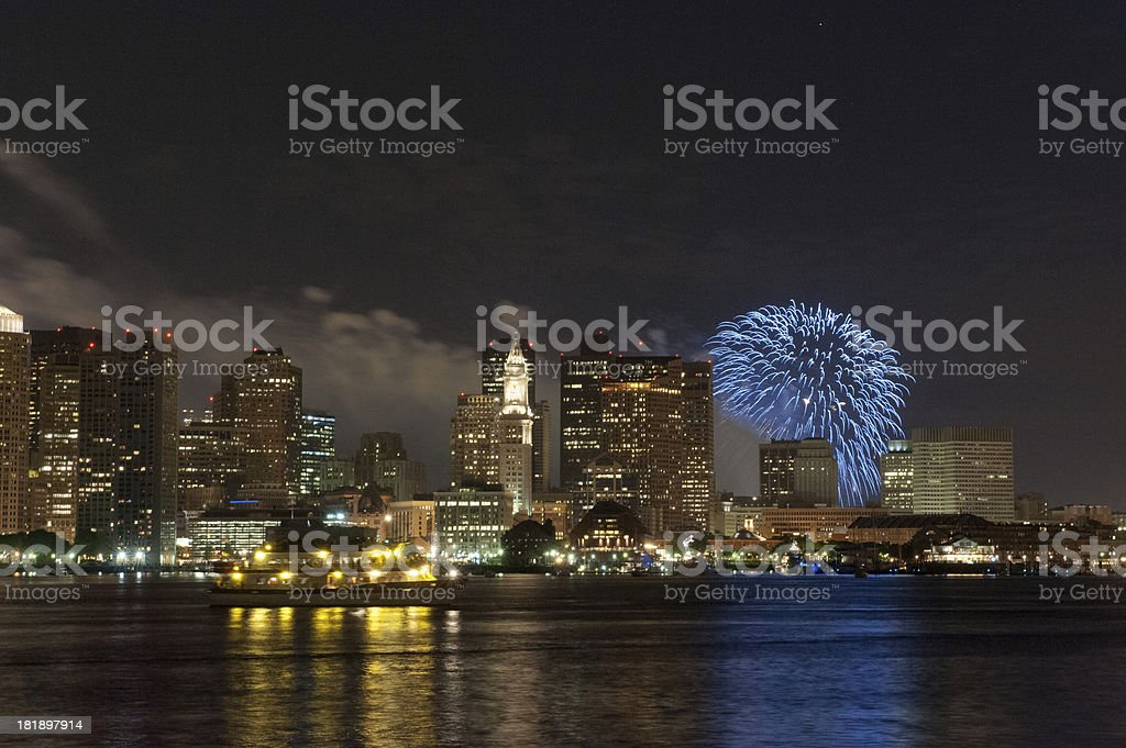 Boston 4th of July fireworks stock photo