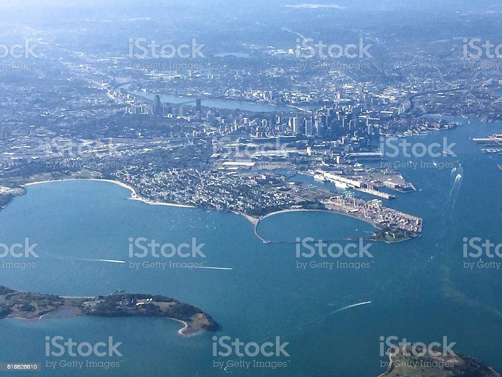 boston aerial view stock photo