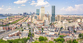 Aerial photo looking over back bay neighborhood and south end areas of Boston captured July 29, 2019 on a sunny summer day by drone
