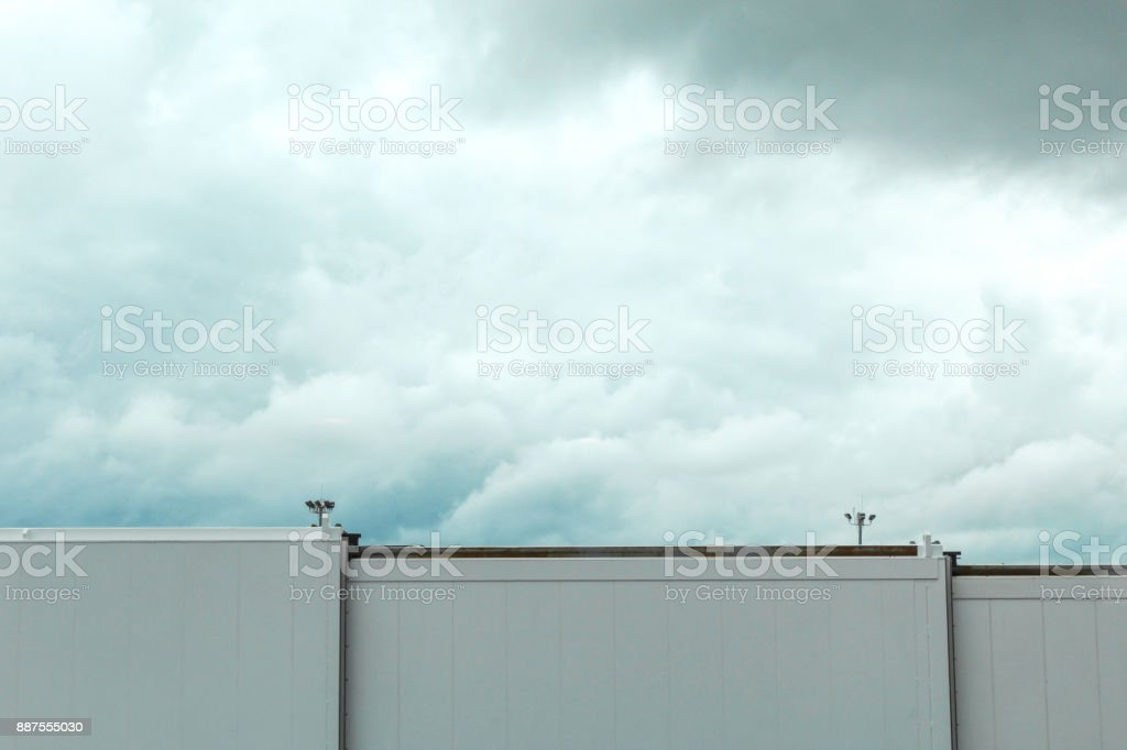 Boston airport skybridge in front of storm clouds, May 15 2017 stock photo